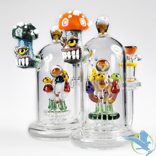 Lookah Glass Water Pipe Angry Mushroom Design With Disc Perc - 807 Grams - 8.5 Inches - Assorted Colors [WPC763]
