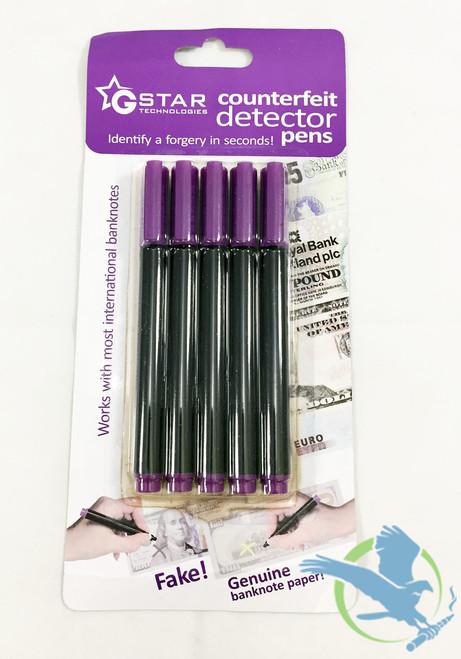 G-Star Money Pen - Counterfeit Detector Pen - Pack of 5 (MSRP $5.00)