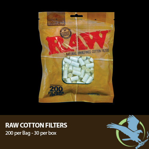 RAW Natural Unrefined Cotton Filters - Approx. 200 Filters Per Bag (MSRP $5.00)