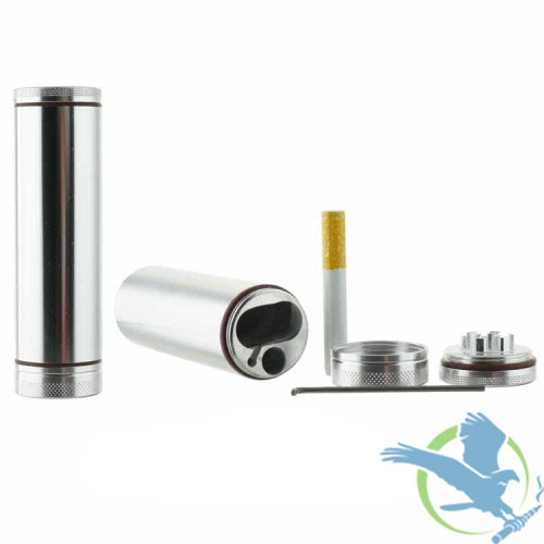 Metal Dugout With Grinder And Chillum - Silver [GR073] (MSRP $20.00)
