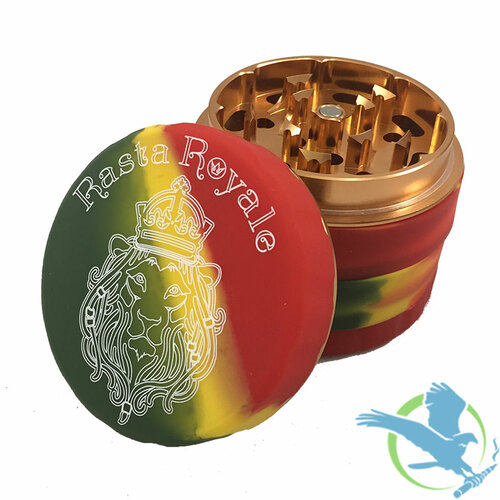 Rasta Royal Silicone 2.5 Inch - 4 Part Tobacco Grinder [70152RR] (MSRP $25.00)