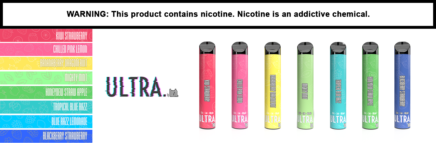 Ultra By Lush 5.1ML 1600 Puffs 650mAh Prefilled Nicotine Salt Disposable Device - Display of 10