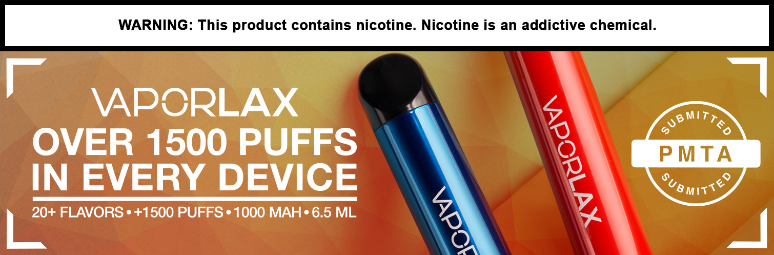 VAPORLAX 6.5ML 1500 Puffs 1000mAh Adjustable Airflow Prefilled Nicotine Salt Disposable Device - Display of 10
