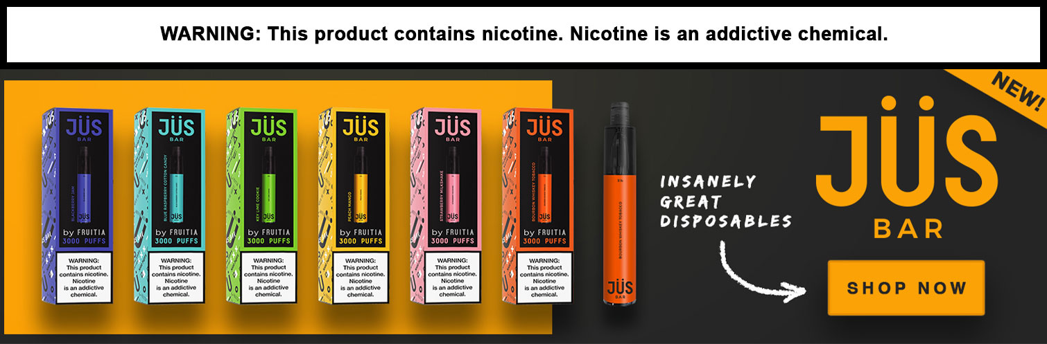 Jus Bar By Fruitia 8ML 3000 Puffs 1250mAh Prefilled Nicotine Salt Disposable Device - Display of 10