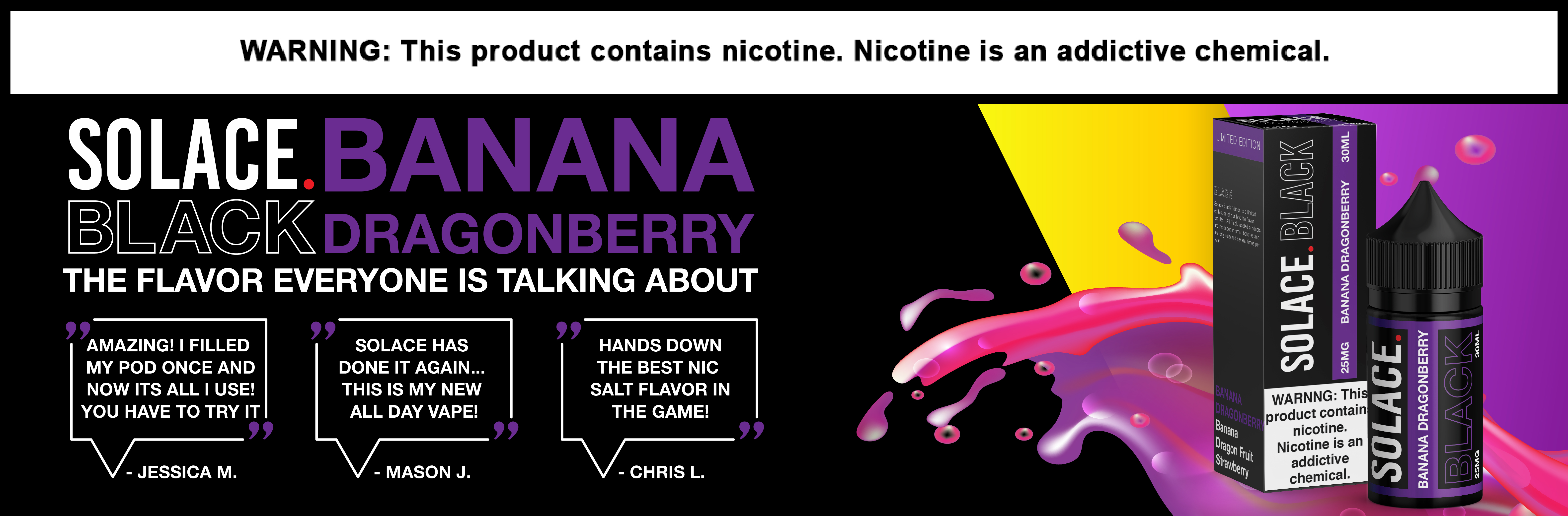 Solace Black Limited Edition Nicotine Salt E-Liquid 30ML