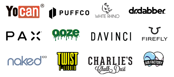 we carry e-liquids and hardware from the top names in the industry such as; SMOK, Vaporesso, Voopoo, Geekvape, Yocan, Ooze, Dabber Daddy's, Naked, Charlie's Chalk Dust, Coastal Clouds and many more