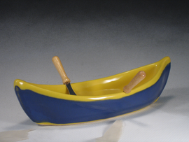 Blue & Yellow Canoe Dip Pot