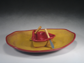 Red & Gold Boat on a Pond Gift Set