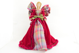Fuschia Plaid Angel Tree Topper