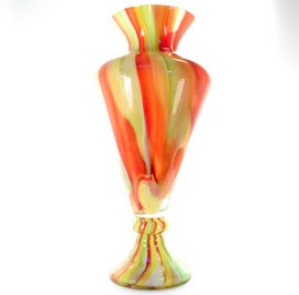 Orange and Green Striped Vase