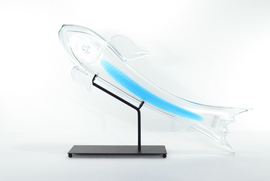 Translucent Fish Sculpture with Aqua Stripe