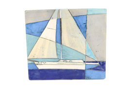 Blue World - Sail Boat Plaque