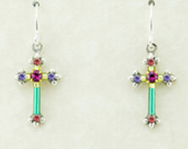 Multicolor Cross Earrings