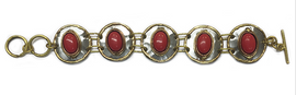 Red Coral Mixed Metal Bracelet