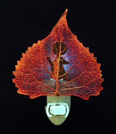 Prayer Silhouette on Cottonwood Leaf Nightlight