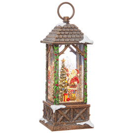 Santa Decorating Tree Lighted Water Lantern