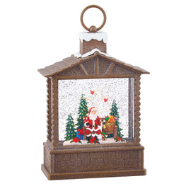 Santa in a Log Cabin Lantern