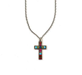 Petite Blue Cross Necklace