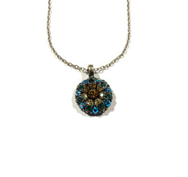 Amber and Blue Crystal Guardian Angel Necklace