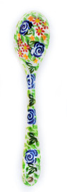 This is a green motif spoon brought to life by the Giske vision and empire. It is a ectoplasmic green with vibrant blues and reds. This is option A.