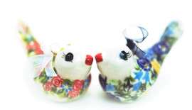 This pair of ornaments by Lidia Giske are endearing to say the least - reminiscent of monogamous songbirds, these ornaments add life to any appropriate creative project, or holiday festivities, or Christmas  on a Christmas Tree.