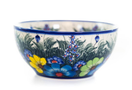 Bowl 16, a medium-sized bowl featuring a quintessential Lidia Giske Polish Pottery Design - the floral scene featuring tall grasses and wildflowers of all variety.