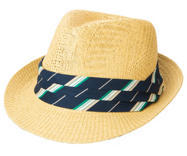 Woven Paper Fedora w/ Pleated Trim