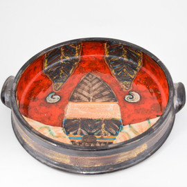 Red Ivory Footed Dish