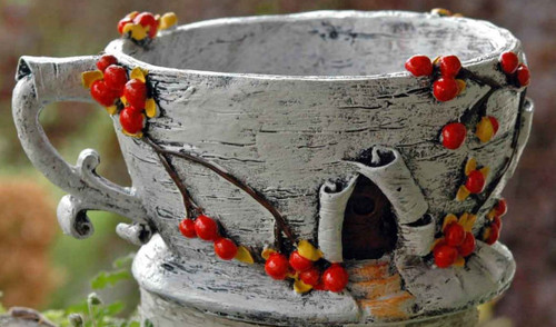 Birch Bark Tea Cup Planter/house