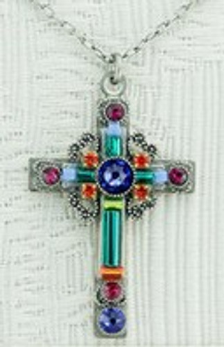 Teal Cross Necklace