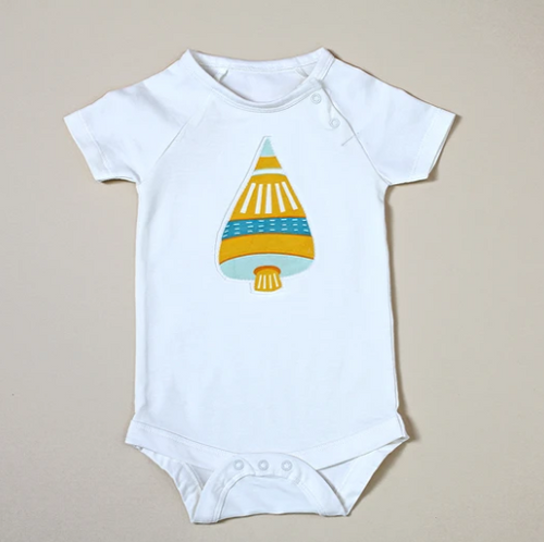 Bodysuit with Yellow Space Shuttle Applique