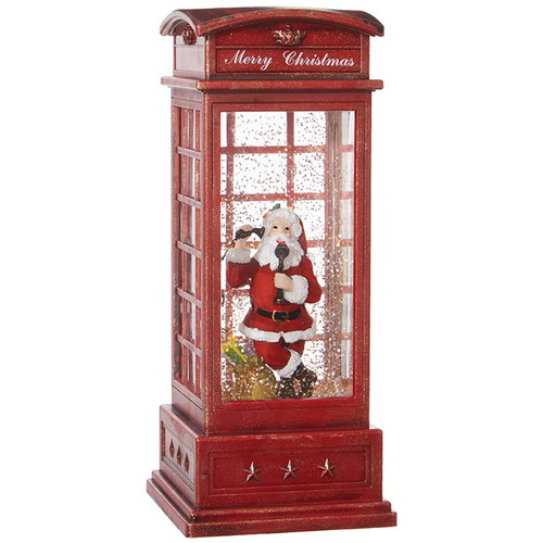 Lighted Musical Santa in Phone Booth
