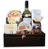 • Leatherette Wine Case • Folonari Pinot Grigio Delle Venezie • Cucina Olive Oil Potato Chips • Caramel & Spice with Almonds Brie Brûlé • Rosenborg Castello Brie Cheese • Extra Fancy Sea Salt Mixed Nuts • Heavenly Sweets Toasted Almond Sea Salt Dark Chocolate Bark • Joystyxs All Natural Olive Oil & Sea Salt Bread Sticks