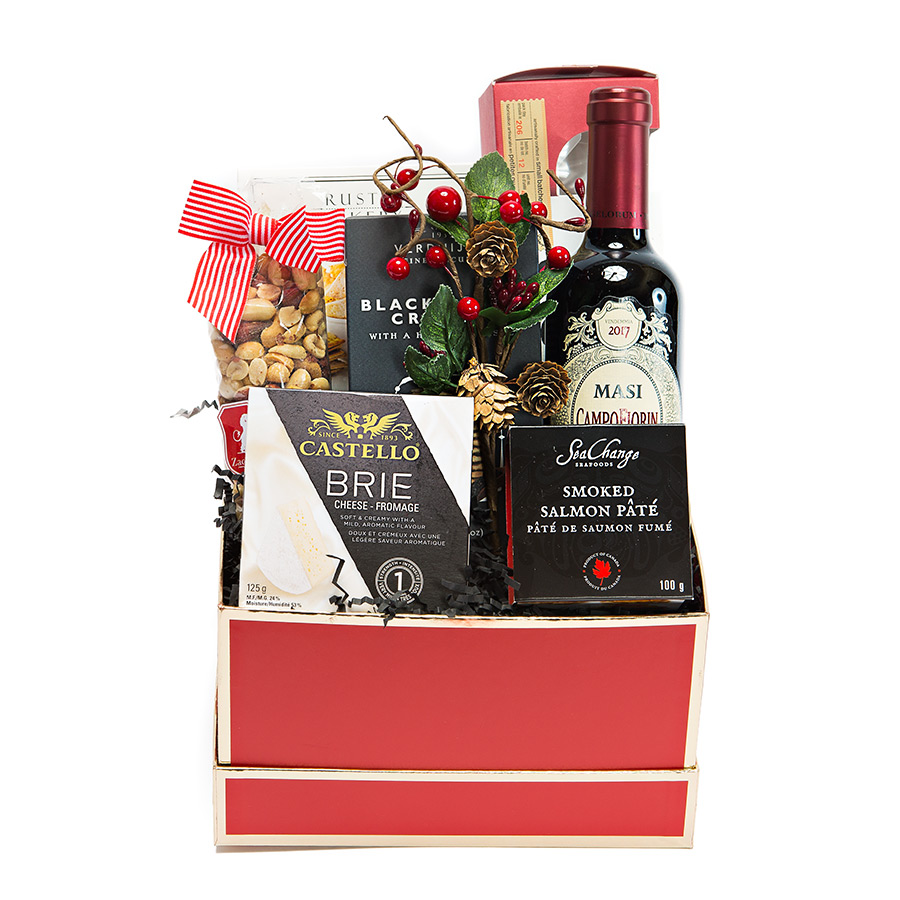 Holiday Red Wine Gift Basket
