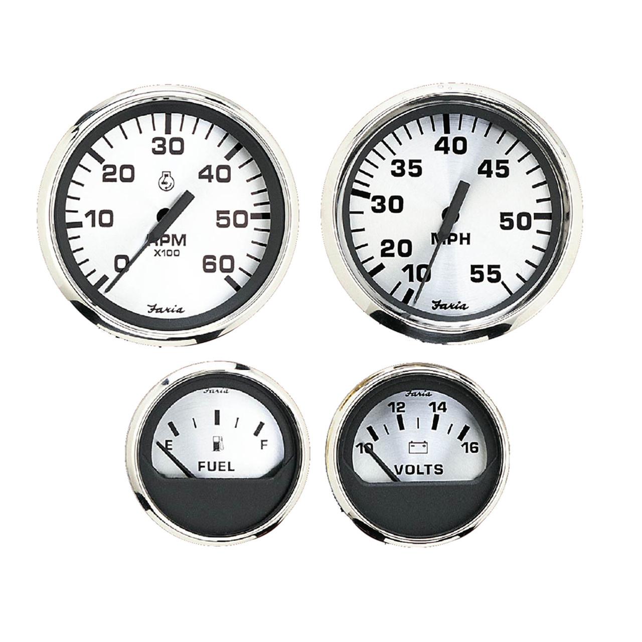 FARIA Spun Silver Series Fuel Level Gauge