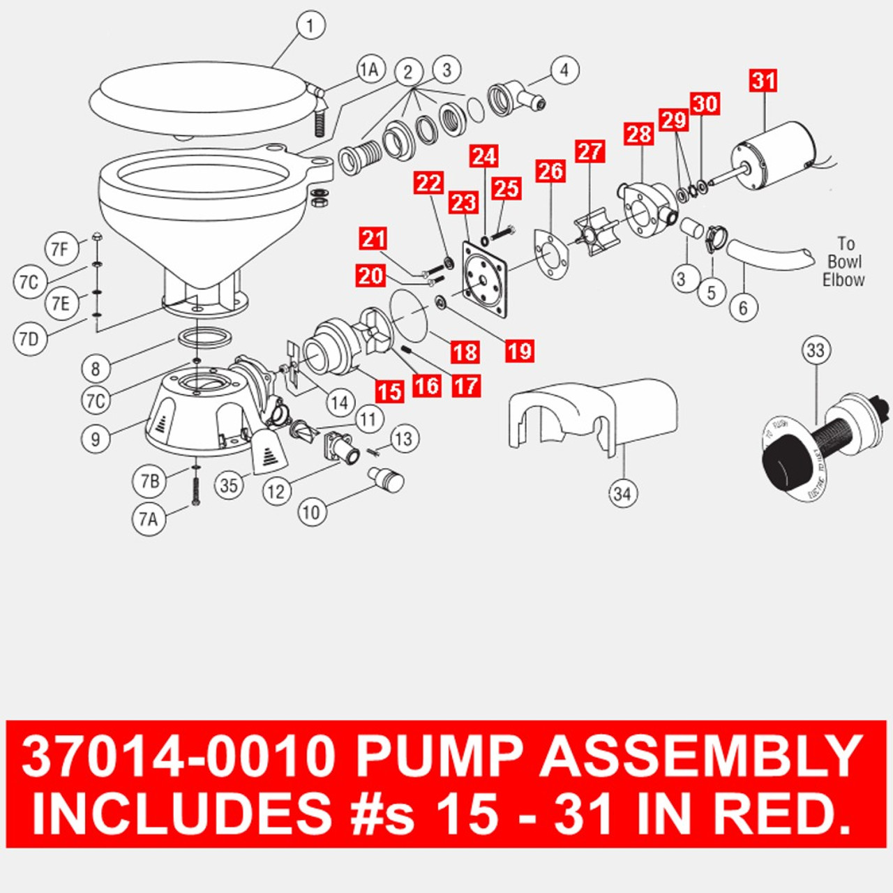 Jabsco Motor//Pump Assembly f//37010 Series Electric Toilets