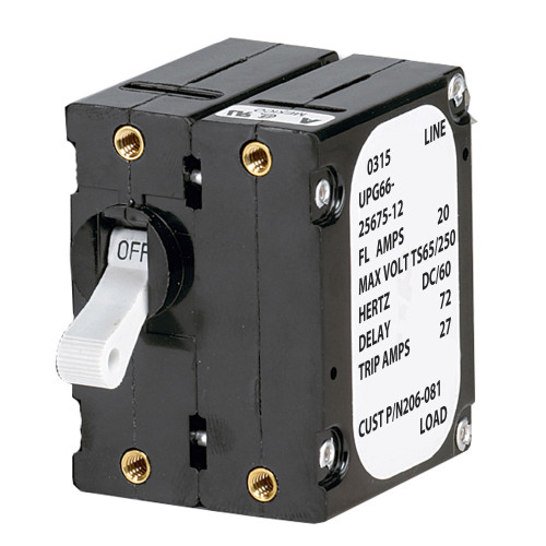 206-081S - Paneltronics 'A' Frame Magnetic Circuit Breaker - 20 Amps - Double Pole