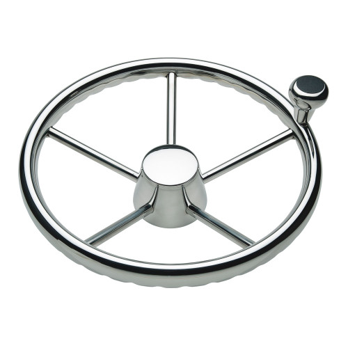 """1731321FGK - Ongaro 170 13.5"""" Stainless 5-Spoke Destroyer Wheel w/ Stainless Cap and FingerGrip Rim - Fits 3/4"""" Tapered Shaft Helm"""