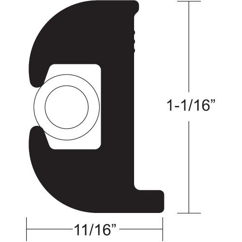 "V11-0809BWK50-2 - TACO Flex Vinyl Rub Rail Kit - Black w/White Insert - 50' - 1-1/16"" x 11/16"""