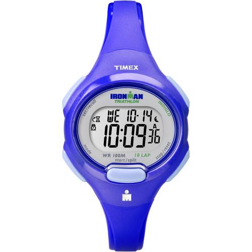 T5K784 Timex IRONMAN Traditional 10-Lap Mid-Size Digital Watch Blue