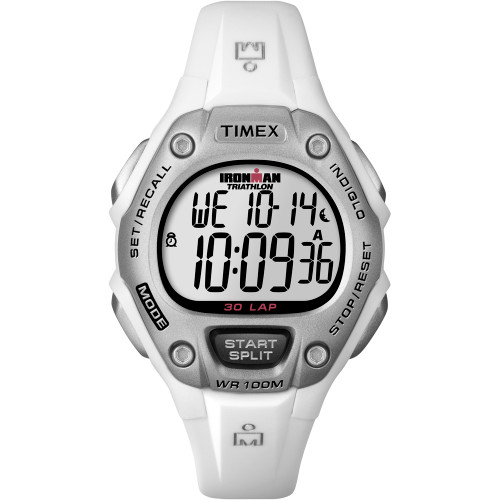 T5K515 Timex IRONMAN® 30-Lap Mid-Size Digital Watch - White