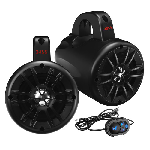 "BM40AMPBT - Boss Audio BM40AMPBT 4"" 2-Way Amplified Roll Cage/Waketower Speaker Pods w/Bluetooth Controller"