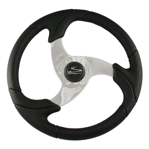 "PU026101 - Ongaro Folletto 14.2"" Black Poly Steering Wheel w/ Polished Spokes and Black Cap - Fits 3/4"" Tapered Shaft Helm"