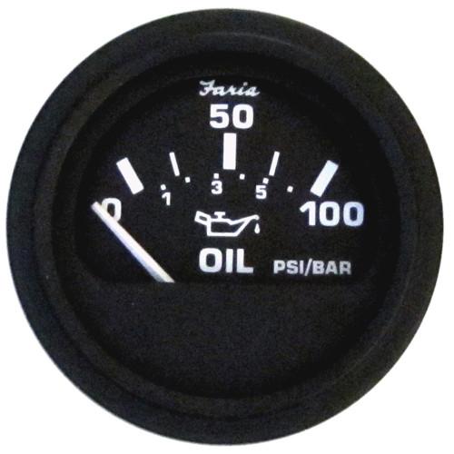 "23004 - Faria Heavy-Duty 2"" Oil Pressure Gauge (100PSI) - Black"
