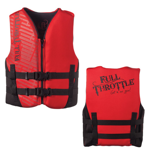 142100-100-002-19 - Full Throttle Rapid-Dry Life Vest - Youth 50-90lbs - Red/Black