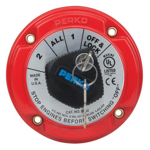 8502DP Perko Medium Duty Battery Selector Switch w/Key Lock