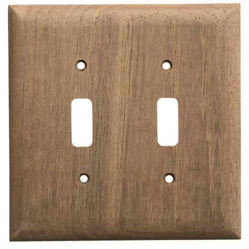 60176 Whitecap Teak 2-Toggle Switch/Receptacle Cover Plate