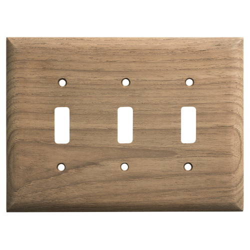 60179 Whitecap Teak 3-Toggle Switch/Receptacle Cover Plate