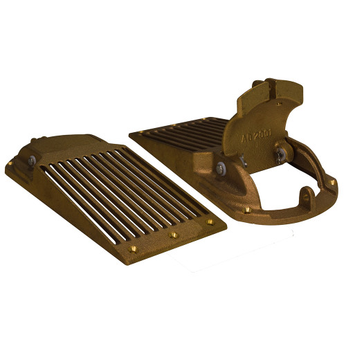 """ASC-1250 GROCO Bronze Slotted Hull Scoop Strainer w/Access Door f/Up to 1-1/4"""" Thru Hull"""