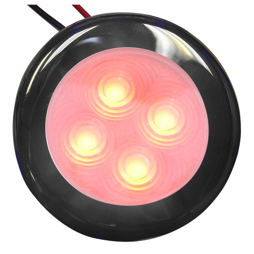 16407-7 Aqua Signal Bogota 4 LED Round Light - Red LED w/Stainless Steel Housing